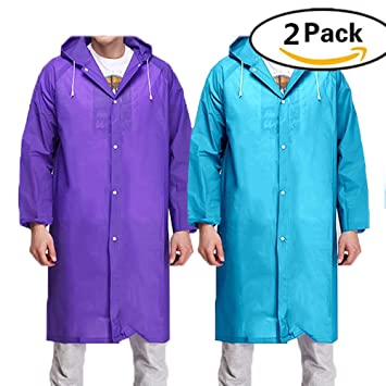 BigLion Adult Waterproof Reusable Raincoat Rain Hooded Poncho with Sleeves for Camping travel Mountaineering