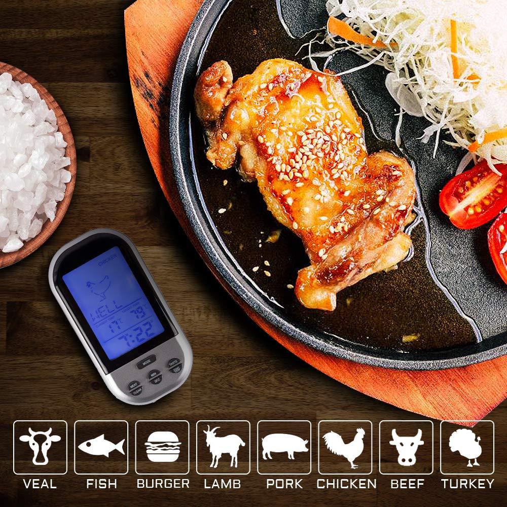 Thermom/ètre de cuisson avec fonction minuterie Thermom/ètre sans fil avec minuteur barbecue Thermom/ètre /à viande pour four