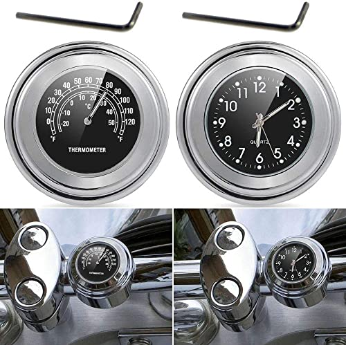 TESWNE7/8 1 Motorcycle Handlebar Chrome White Dial Clock and Thermometer