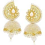 Meenaz Jewellery Gold Plated Pearl Jhumka Earrings Jhumki Ear rings For Girls Women Earrings Necklace Jewellery Jhumki 133