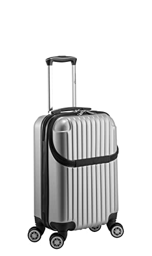 a80313dc8 Amazon.com | Euro Style Collection Luggage Travel Bag ABS Trolley Spinner  Suitcase with Front Opening, Black | Carry-Ons