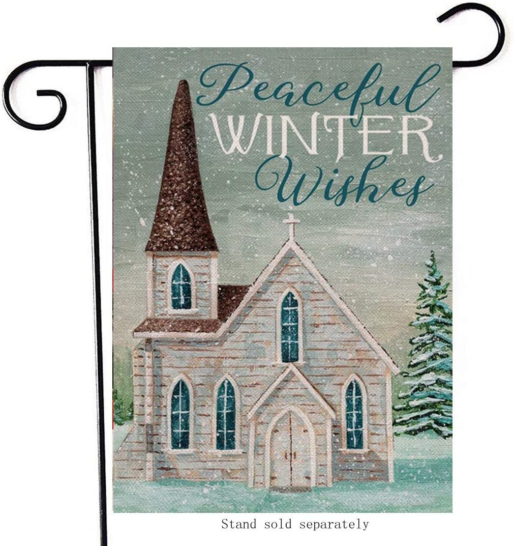 Artofy Peaceful Winter Wishes Decorative Small Garden Flag, White Christmas House Yard Outside Welcome Decor Church, Xmas Holiday Home Decorations Farmhouse Seasonal Outdoor Flag Double Sided 12 x 18