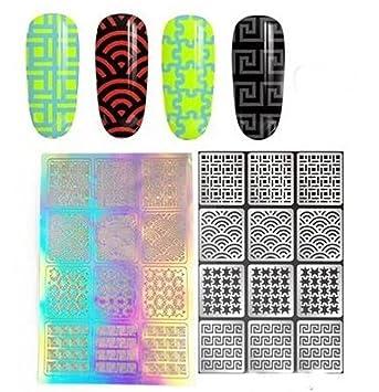 Amazon com: 1 Sets DIY Stencil Nail Art Sticker Water Transfer Nails