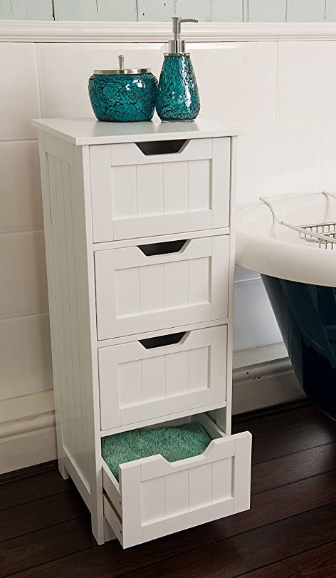 Home Treats Tall 4 Drawer Storage Cabinet. Bathroom Cabinet Or ...