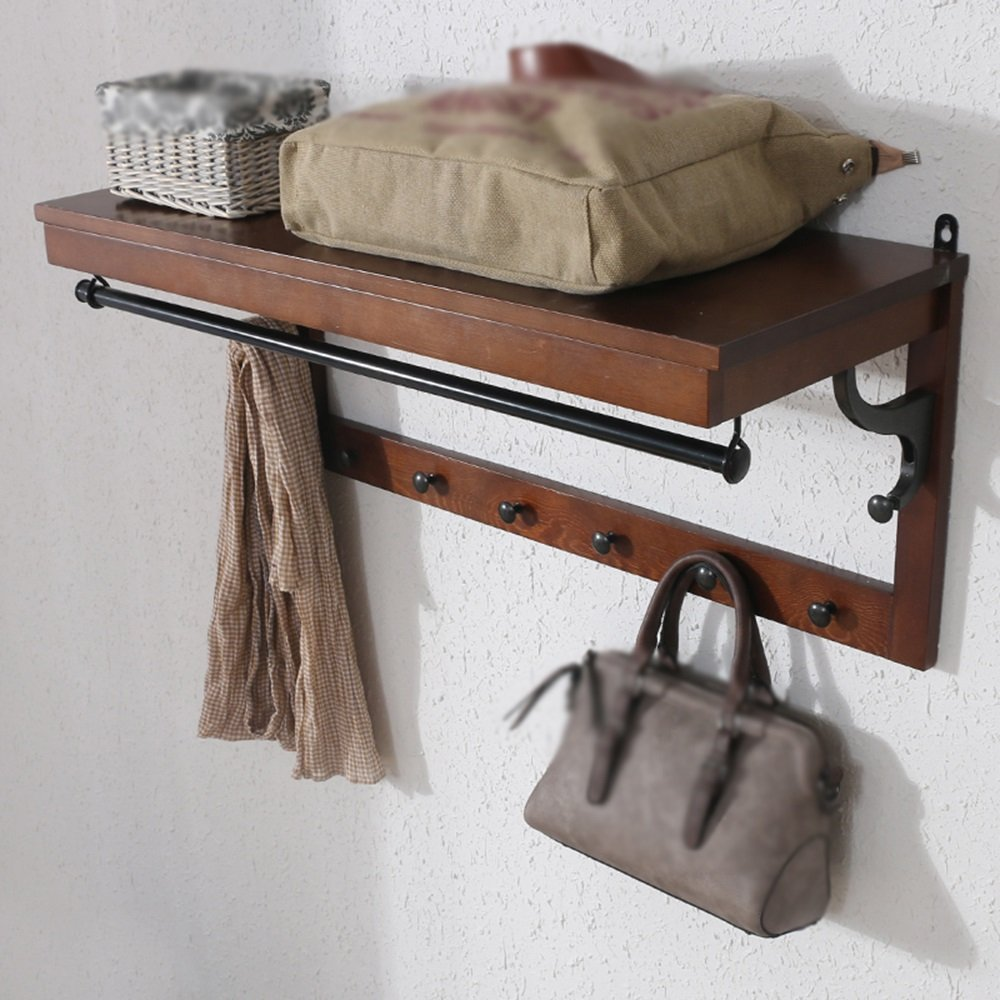 Solid wood entrance wall-mounted coat rack / multi-function hook / wall-mounted racks / hanger / white, brown wall-mounted coat rack shelf/(843336.5cm) ( Color : Brown )