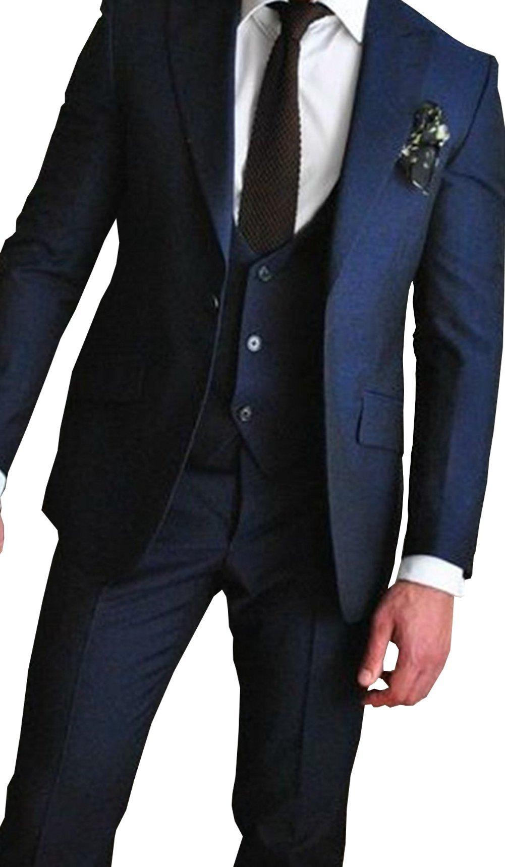 Newdeve 1 Button Navy Blue 3 Pieces Men Suits Wedding Party Tuxedo (S)
