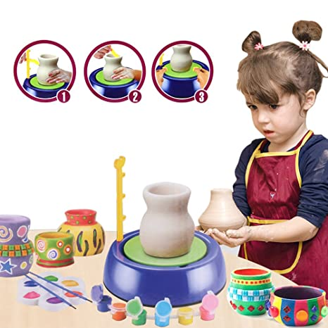 Amazon.com: BTToyy Pottery Wheel, Pottery Studio Kit, Educational Toy, DIY  Toy With Clay For Kids Children Beginners For Fun: Toys U0026 Games