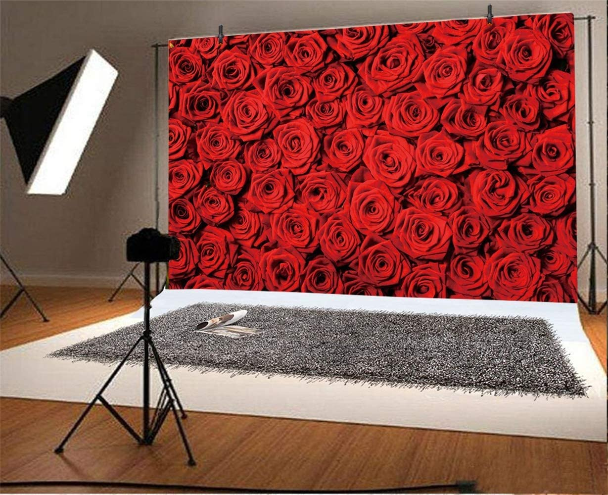 GoHeBe Fullframe Red Rose Flower Wall Backdrop 10x7ft Vinyl Floral Wedding Stage Background Wedding Celebration Photo Booth Flower Decoration Bride Portrait Shoot Bridal Shower Banner Lovers Shoot