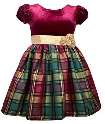 Bonnie Jean Girls Red Gold Green Plaid Christmas Holiday Party Dress 4-6X