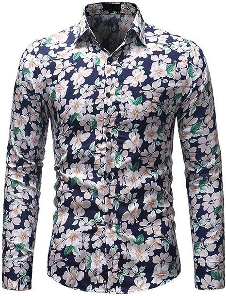 Hombre Camisa Flor Estampada Casual Slim Fit Manga Larga Tops,Blue,L: Amazon.es: Deportes y aire libre