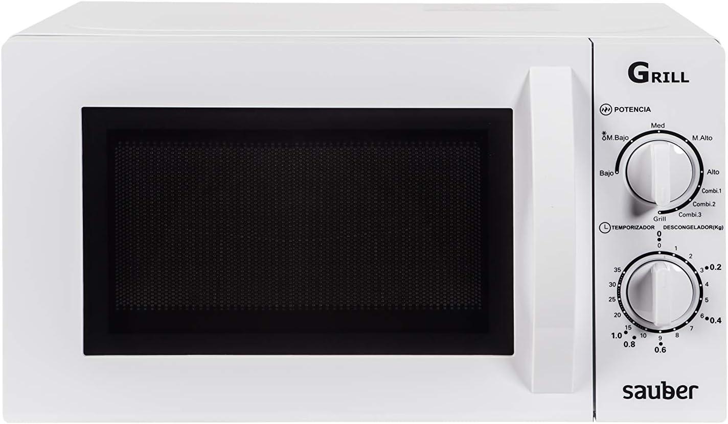 Sauber - Microondas con Grill HMS03WG - 20 litros - Color Blanco