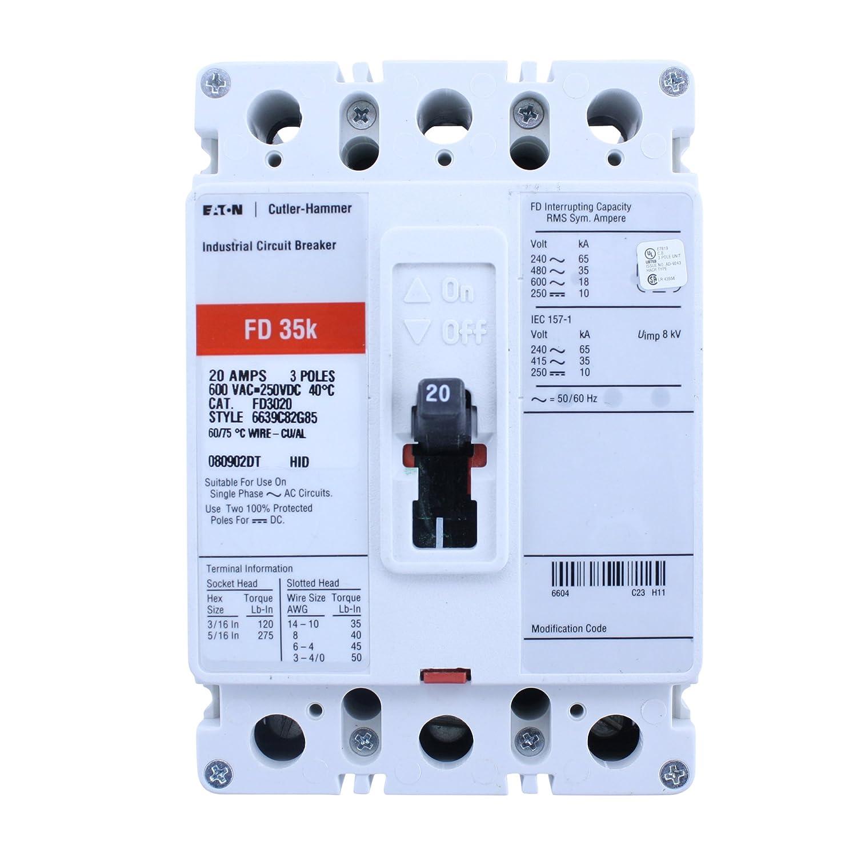 Eaton Cutler-Hammer FD3020 6639G82G85 3 Pole 20 AMP 600V Circuit ...