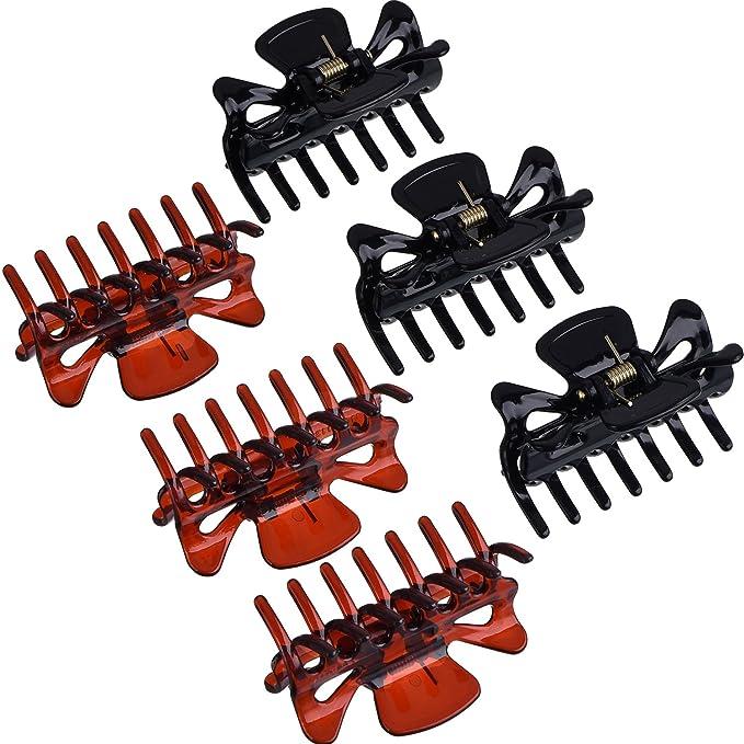 100pcs//Bag Black Hair Clips Clipper Clamp For Women Ladies Plastic 6 Claws