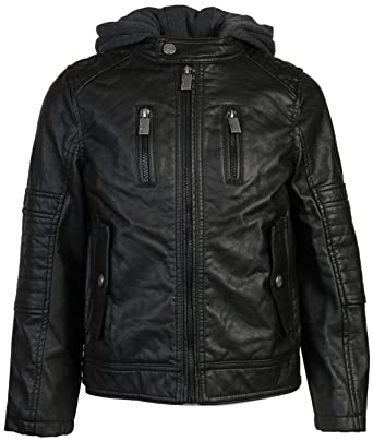 3cf457d9ba6 Amazon.com  Urban Republic Boys Faux Leather Biker hooded Jacket ...