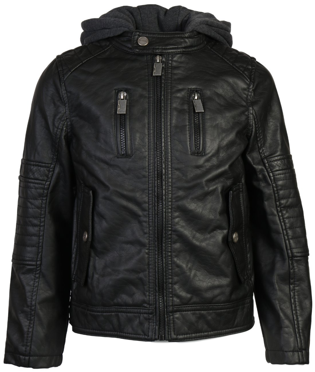 Urban Republic Boys Faux Leather Biker Hooded Jacket, Black w/Flap Pocket, 10/12'