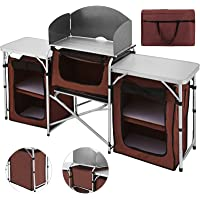 Happybuy Portable Camping Kitchen Table Multifunctional Camping Kitchen Table Windscreen Camping Table Easy-to-Clean Cooking Table Camping Light
