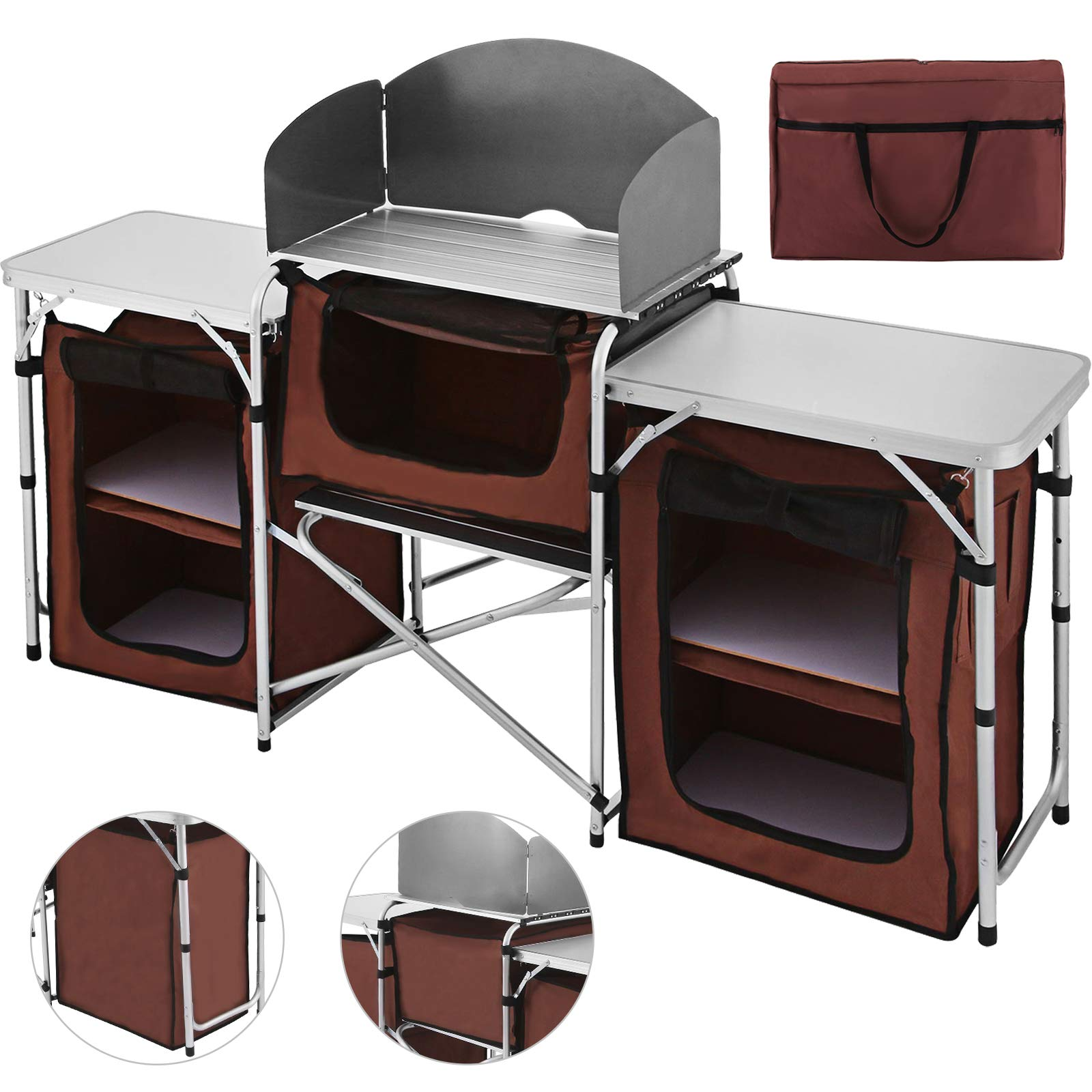 Happybuy Portable Camping Kitchen Table Multifunctional Camping Kitchen Table Windscreen Camping Table Easy-to-Clean Cooking Table Camping Light by Happybuy