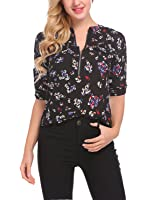 Lomon Women Blouses Shirts Long Sleeve Chiffon Casual Floral Print Tops with Zipper
