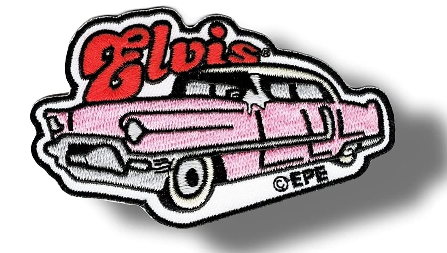 White 3.75 Inch Rectangular Simple Basic 1950s Crusin Caddy Elvis Design Iron On Embroidered Applique Patch {Black /& Red Colors} Single Count Custom and Unique