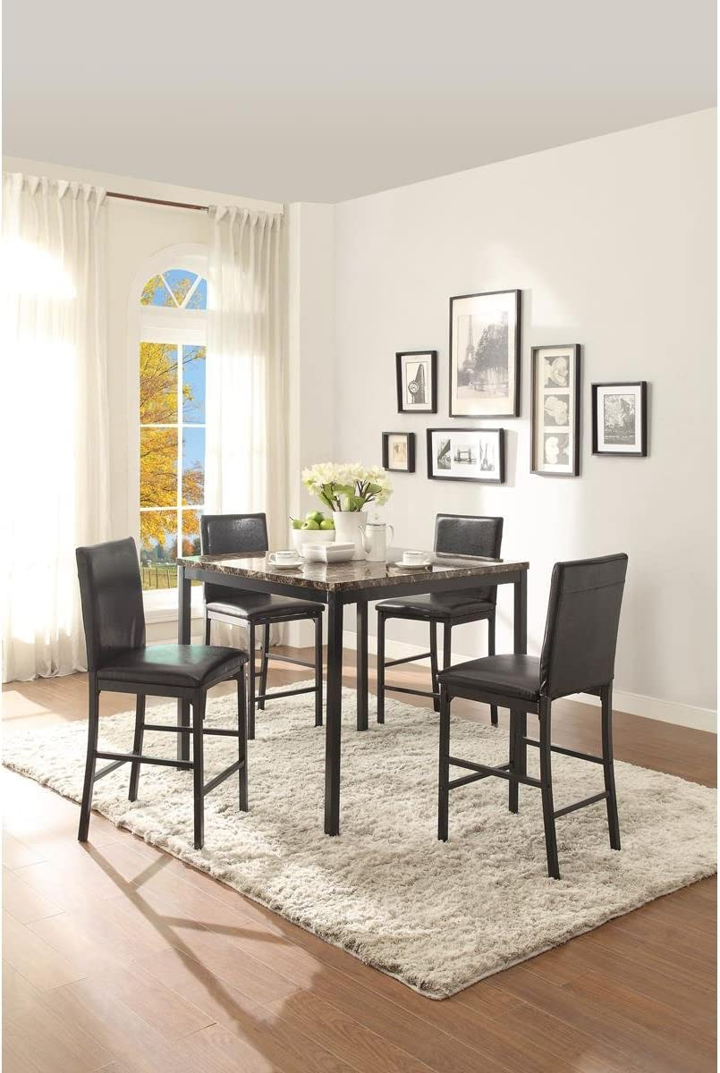 Thorndike Modern 5 Piece 40 Inch Faux Marble Square Counter Height Dining Table Set In Black Table 4 Chairs Furniture Decor
