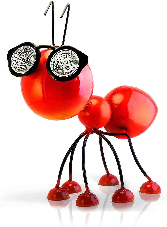 Adorno Solar para Jardin – Figura de Hormiga Roja de Metal con Luces LED – Idea de Regalo para su Jardín, Prado, Terraza o Patio: Amazon.es: Jardín