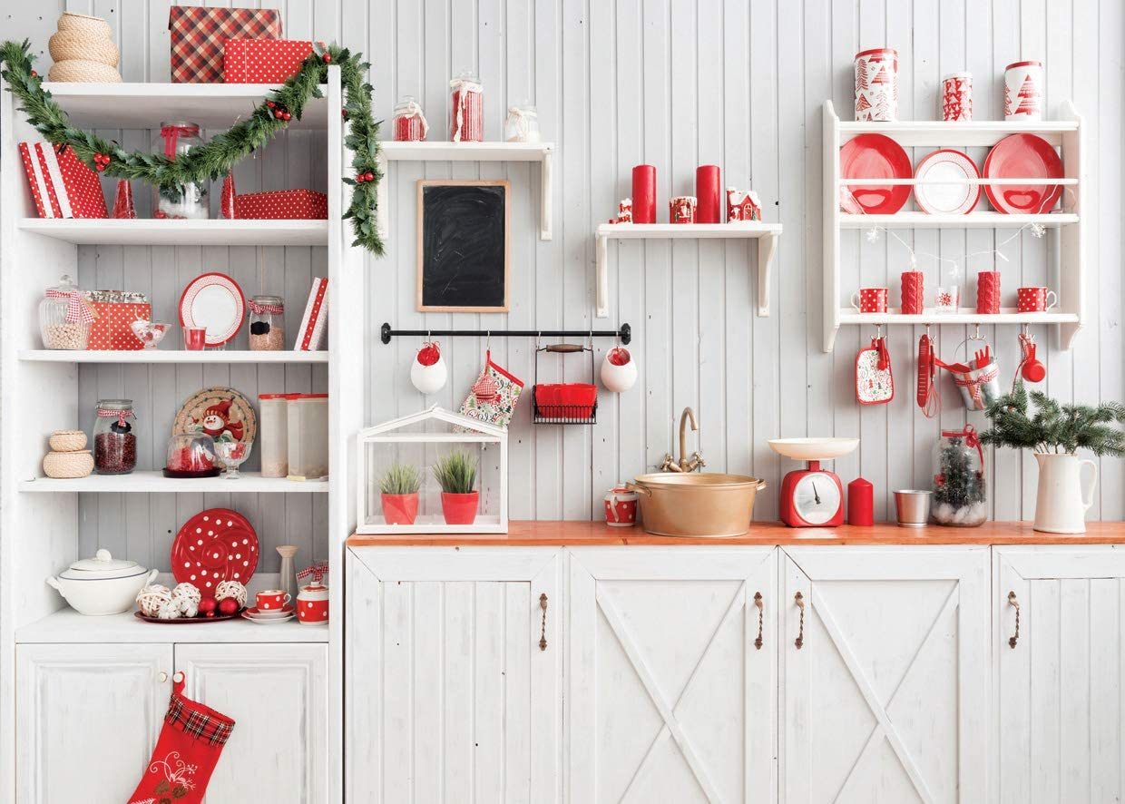 AIIKES 8x6FT Christmas Kitchen Photography Backdrop Wood Wall Photo Background Indoor Home Party Xmas Decorations Newborn Baby Portrait Photo Booth Studio Props 11-776