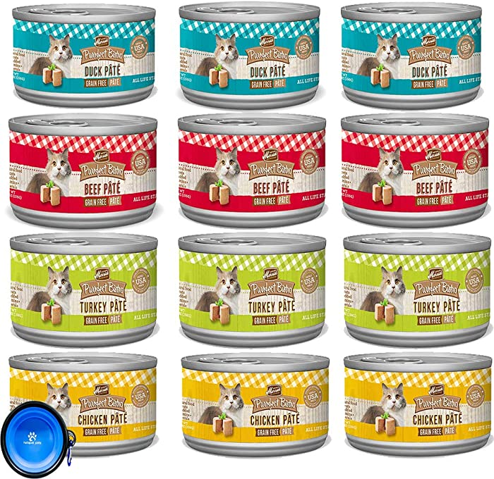 Merrick Purrfect Bistro Pate Canned Cat Food Variety Bundle Pack - 4 Flavors (Chicken, Duck,Turkey,Beef) - 3 Ounces Each (12 Total Cans - 3 of Each Flavor) W/Hotspot Pets Collapsible Bowl