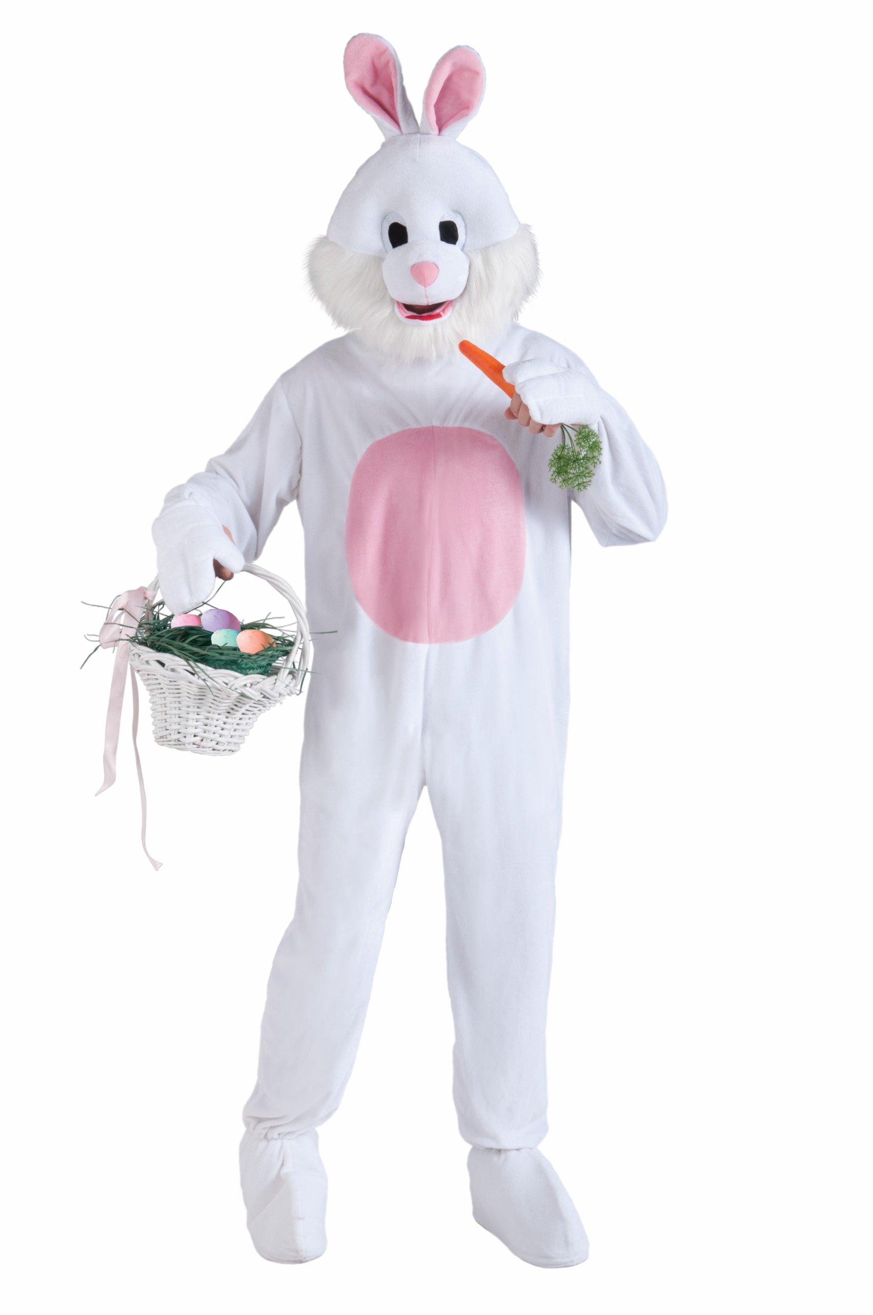 Forum Novelties Men's Plush Bunny Mascot Costume, Pink/White, Standard