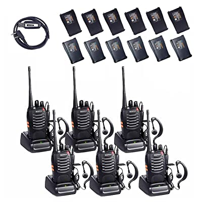 BaoFeng BF-888s 2 Way Radio with 12 1500mah Li-ion Batteries Long Range Baofeng Walkie Talkie Two Way Radio (6 Pack) + One USB Programming Cable: Car Electronics