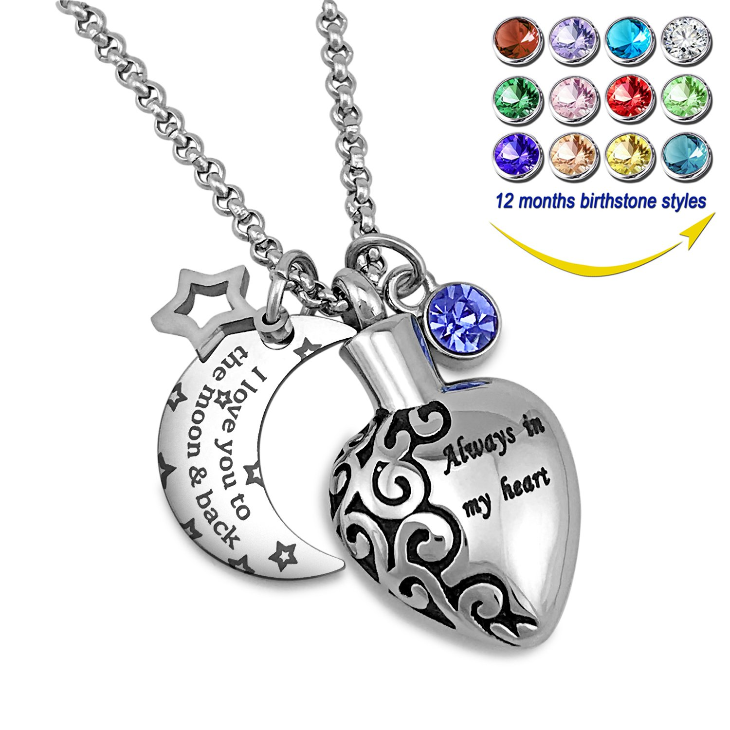YOUFENG Urn Necklaces for Ashes Always in My Heart Love You to The Moon and Back 12 Birthstones Styles Necklace (December Birthstone URN Necklace) by YOUFENG (Image #1)
