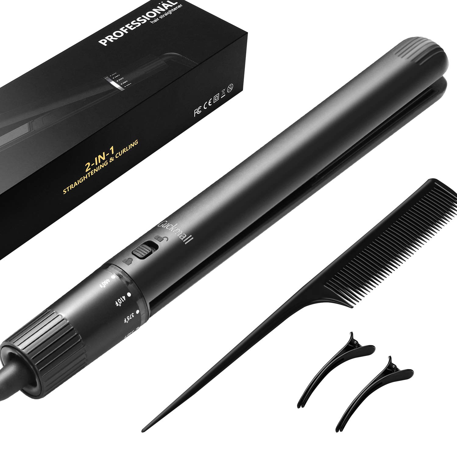 Guckmall Hair Straightener Professional Tourmaline Ceramic Flat Iron Straightener with Rotating Adjustable Temperature for All Hair Styling Travel Size