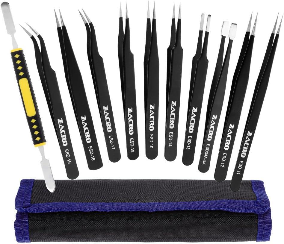 Zacro 11 Pcs Pinzas de Precisión, Tweezers ESD Anti-Estáticas de Acero Inoxidable Pinzas para Electrónicas, Joyería, Laboratorio o Cosmetología, etc.