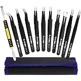 Zacro 11 Pcs kit de pinzas de Precisión, Tweezers Anti-Estáticas de Acero Inoxidable para Las Electrónicas, Joyería, Médico, Laboratorio o Cosmetología, etc. Negro.