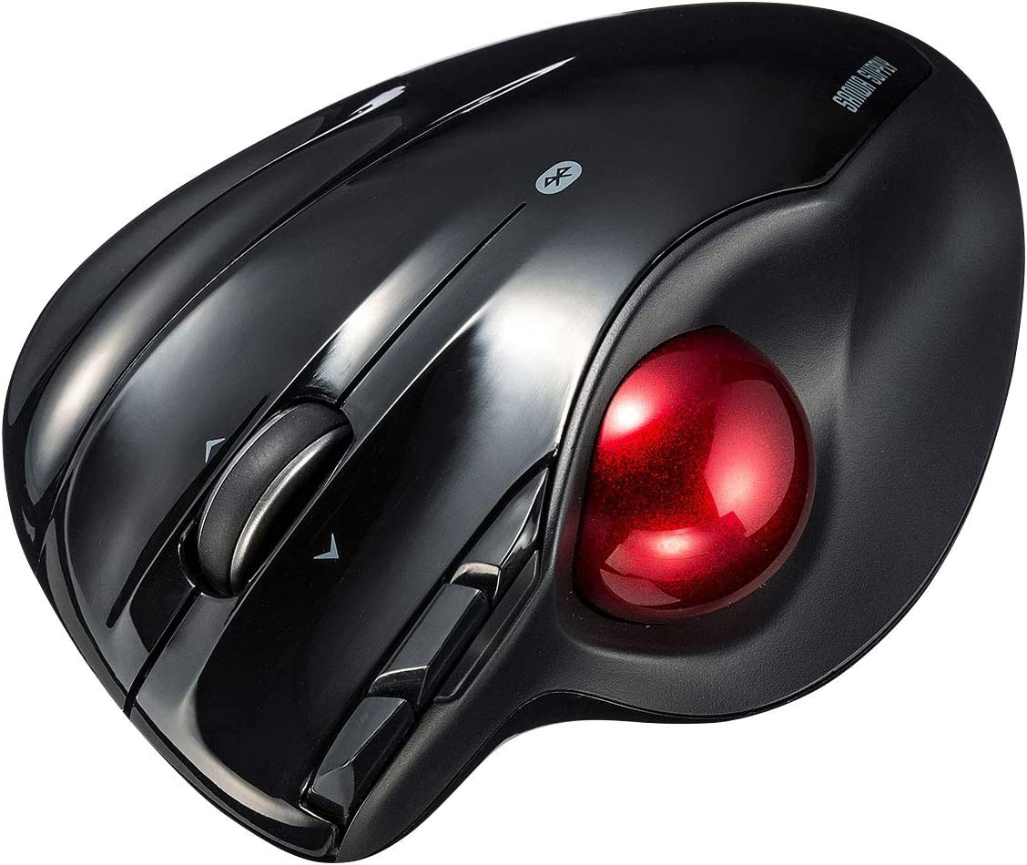 サンワサプライ Bluetooth4.0トラックボール エルゴノミクス 親指操作タイプ 5ボタン ブラック MA-BTTB1BK