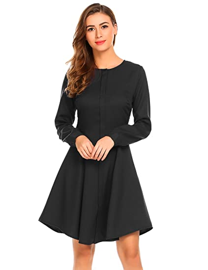 Zeagoo Women S Long Sleeve Fit And Flare Elegant Vintage A Line Mini