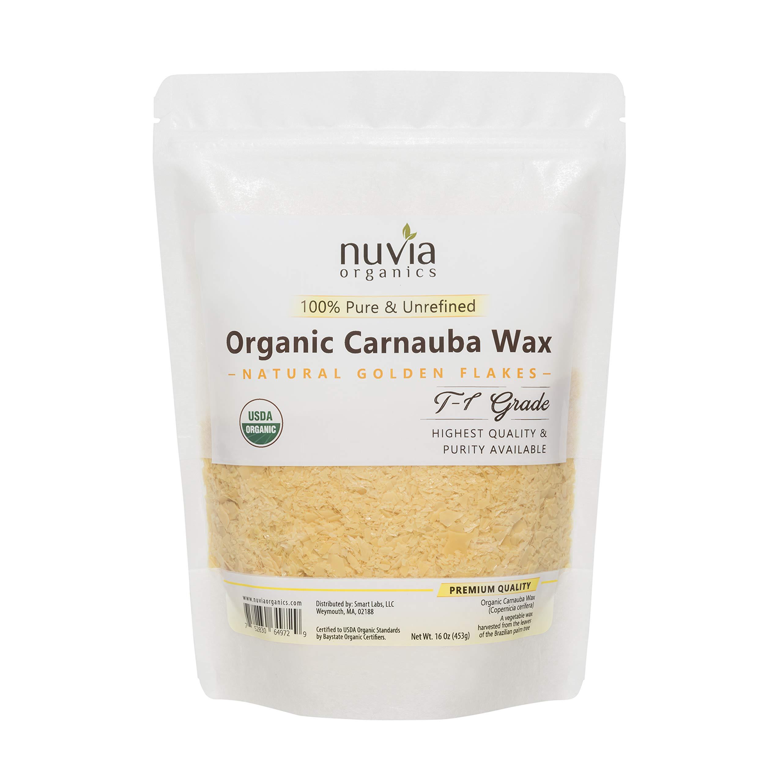 Nuvia Organics USDA Certified Carnauba Wax, 100% Vegan - Great for DIY Cosmetics, Food Grade, Various Uses, 16oz by Nuvia Organics
