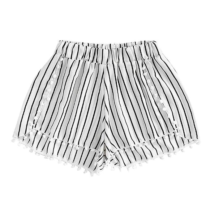 Luckde Damenhosen Streifen Kurze Hosen Retro Shorts Bikinihose