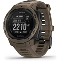 Garmin Instinct, resistente reloj para exteriores con GPS, Nuevo, Una talla, Bronceado táctico
