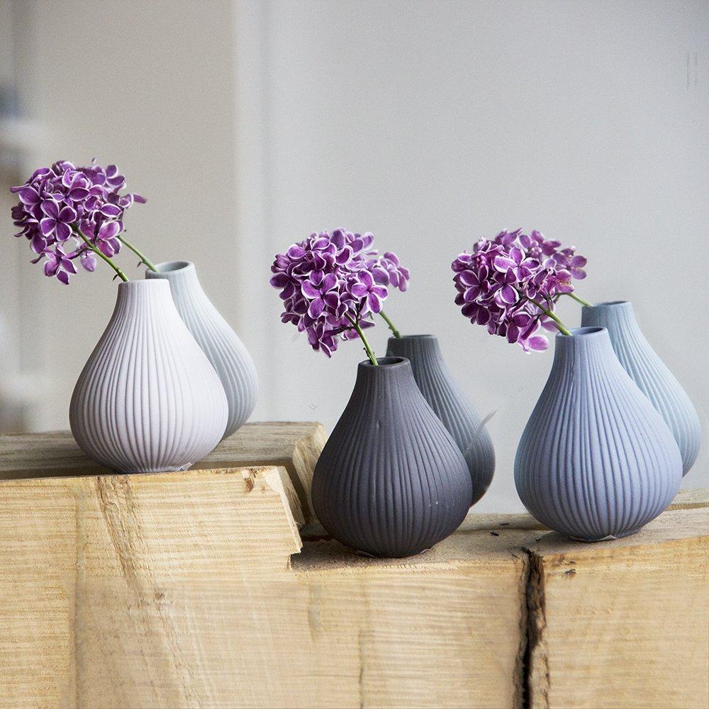 Lot de 6 pièces Argile Vase, 1 pcs chaque en noir, bleu, gris, gris clair, vert, bleu Mer, canard et blanc