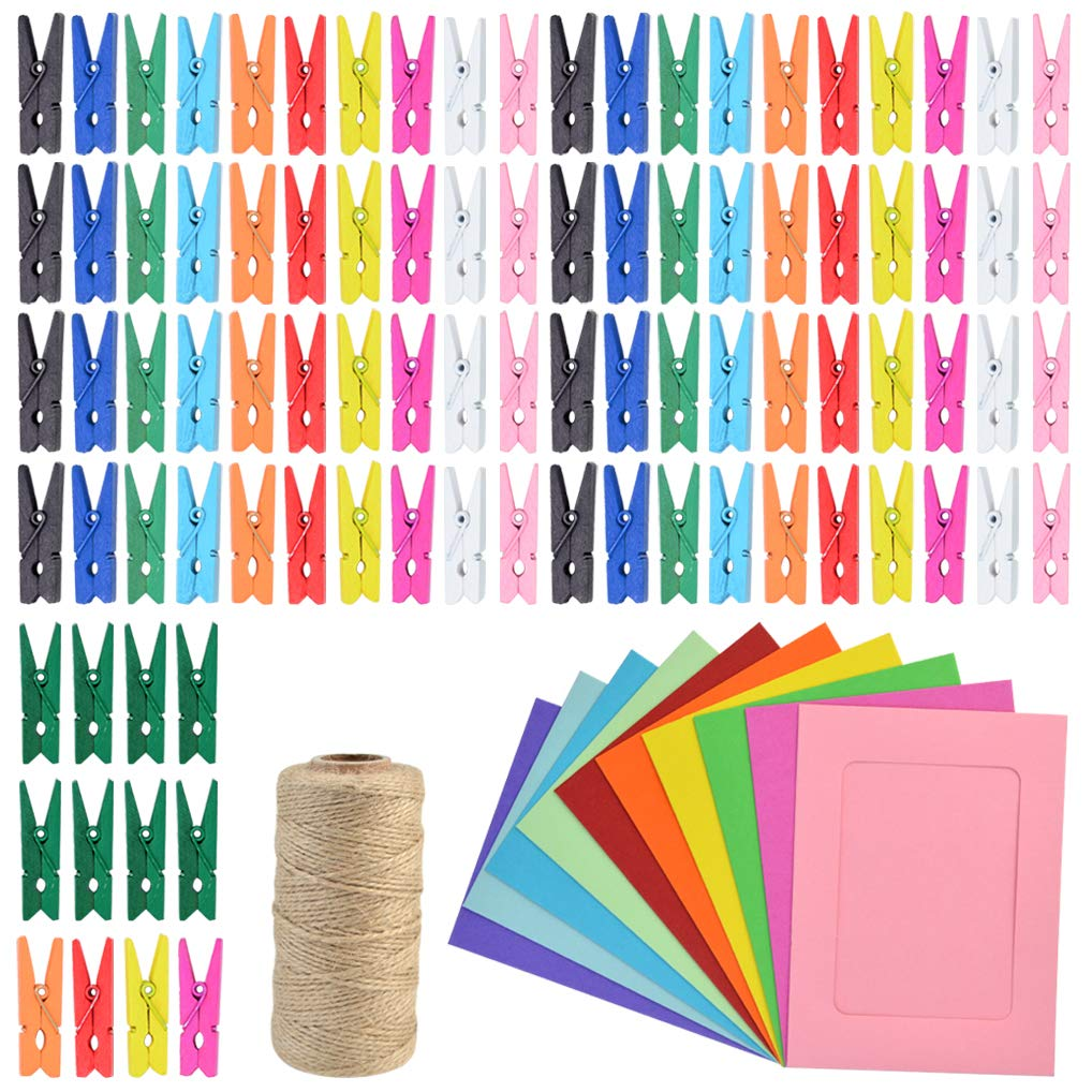 Yookat 328 Feet Jute Twine 100 Pieces Mini Colored Natural Wooden Clips Clothespins Pegs Clips with 20 Pieces Colored Picture Photo Frame for Home Arts Crafts Decoration by Yookat
