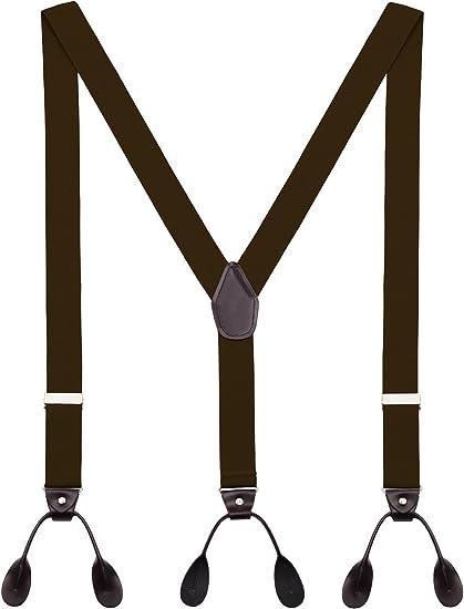 Hosenträger 4 Knopflöcher 35mm in Schwarz 120cm