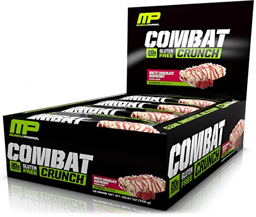 MusclePharm Combat Crunch Protein Bar, Multi-Layered Baked Bar, 20g Protein, Low Sugar, Low Carb, Gluten Free, White Chocolate Raspberry, 12 Bars