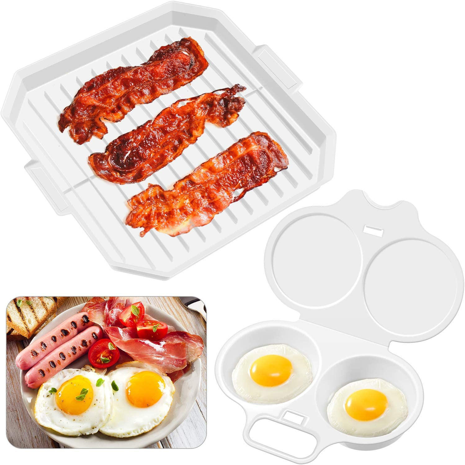 Microwave Bacon and Meat Grill Plate Bacon Cooker Rack and Microwave Egg Poacher with 2 Cavity Compact Egg Maker Poached Egg Steamer Kitchen Gadget