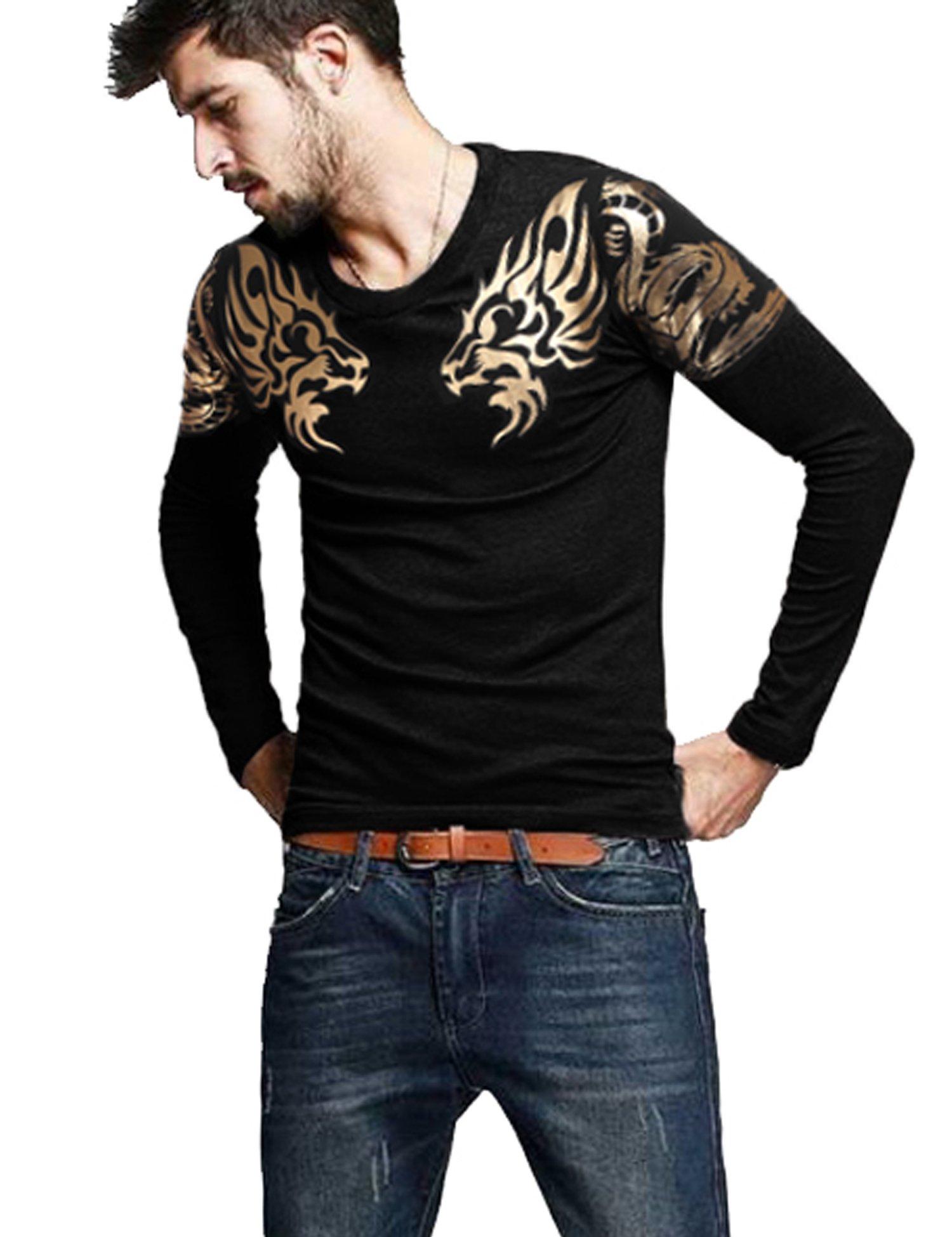 COOFANDY Mens Print Tees Dragon Graphic Long Sleeves Fashion T-Shirts Black L by COOFANDY (Image #1)