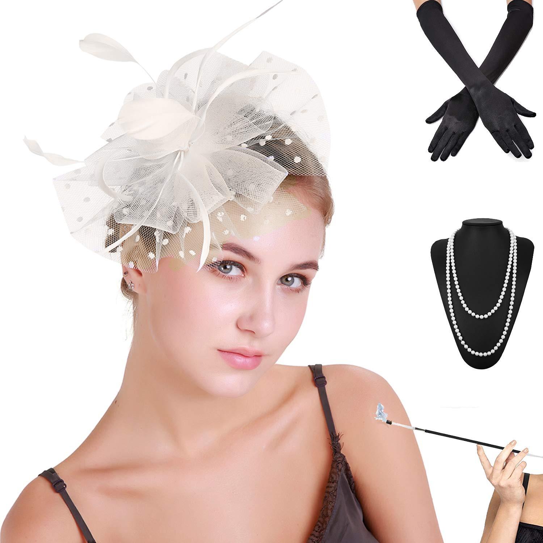 b1e1fc2f Fascinators Pillbox Tea Hat for Women Tea Party Accessories Set - Kentucky  Derby Headband, Gloves, Long Cigarette Holder (OneSize, 3-Beige) at Amazon  ...