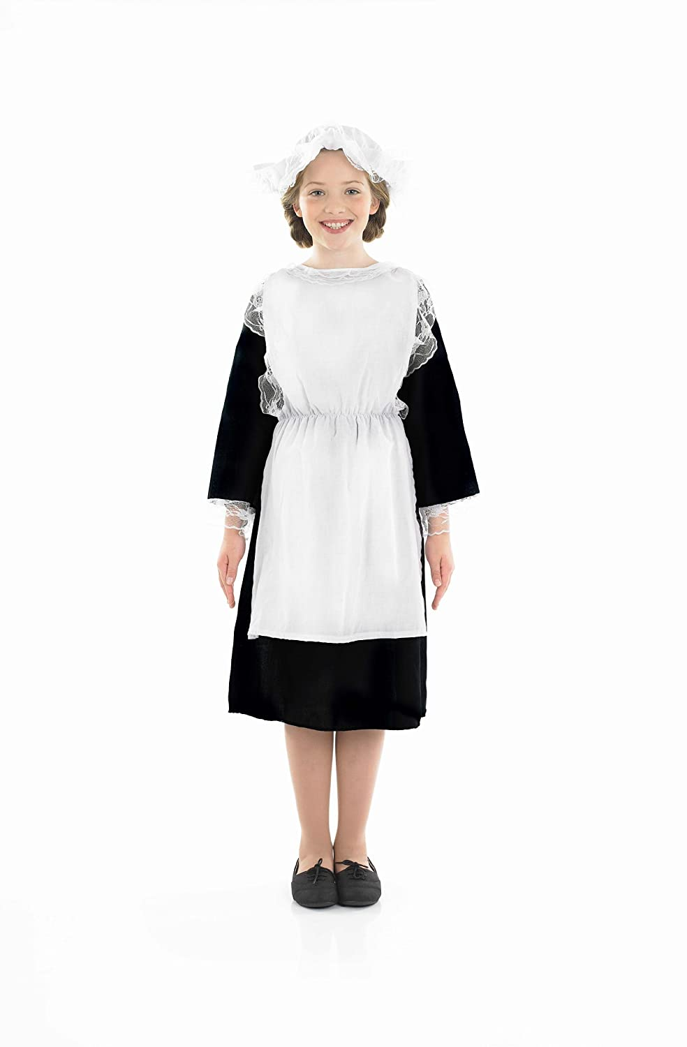 Fancy Dress Kit Girls Costume Book White With Apron /& Mop Cap Victorian Kit