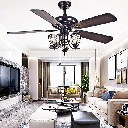 RainierLight 52 inch Ceiling Fan Lamp 3 Cryatal Light Kit 5 Wood Blade Remote Control Led Light Chandelier for Bedroom Living Room Mute Energy Saving Fan