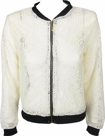 9ff476c70cf YSL Fashion Womens Lace Net Zip Jacket Ladies Summer Biker Zip Top (White):  Amazon.co.uk: Clothing