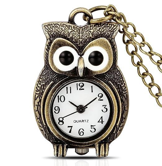 Infinite U Retro Adorable Búho con Ojos Grandes dibujos animados Reloj de Bolsillo Cuarzo Números Arábigos Bronce: Amazon.es: Relojes