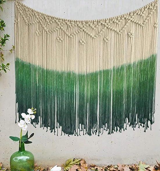 Flber Dip-Dyed Macrame Woven Wall Art Curtain Home D cor,47 Wx39 L